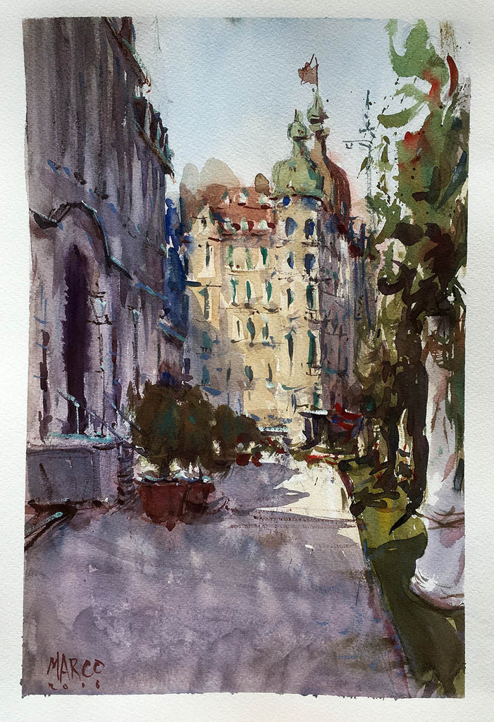 Walking In Lucerne - Watercolour Painting - Marco Bucci Art Store