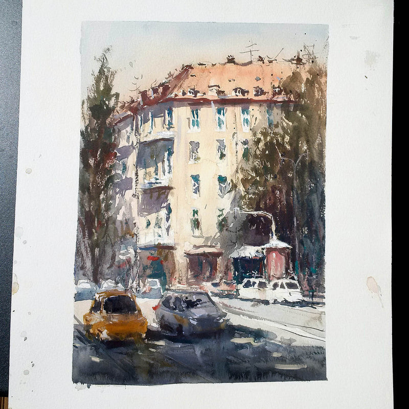 SOLD - Leopoldstrasse - Watercolour Painting - Marco Bucci Art Store