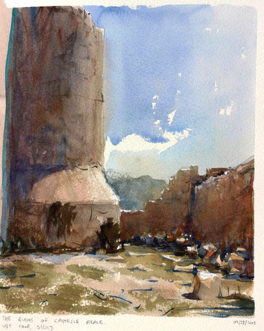 SOLD - Ruins of Noto Antica - watercolour Painting - Marco Bucci Art Store