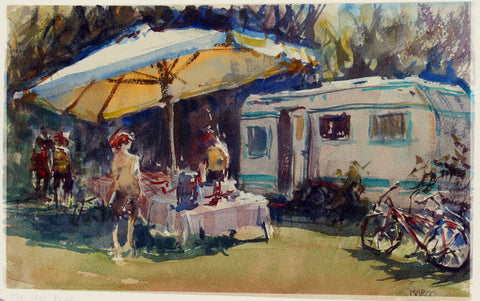 SOLD - Picnic in Sicily - watercolour - Marco Bucci Art Store