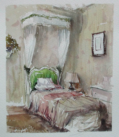 SOLD - Bed & Breakfast - watercolour Painting - Marco Bucci Art Store
