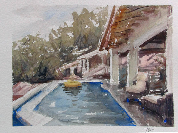 Poolside, Costa Rica - watercolour Painting - Marco Bucci Art Store