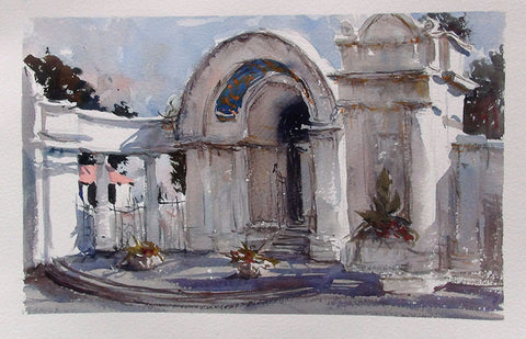 SOLD - Sunnyside Facade - watercolour Painting - Marco Bucci Art Store