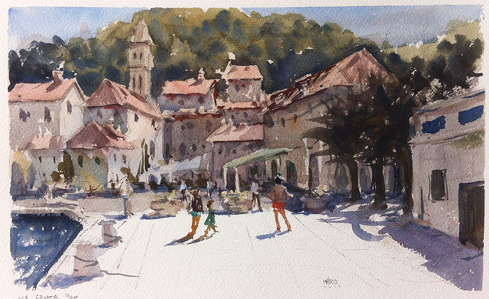 SOLD - Morning in Vis, Croatia - watercolour Painting - Marco Bucci Art Store