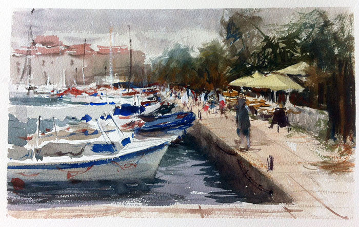 SOLD - Storm in Perast, Montenegro - watercolour Painting - Marco Bucci Art Store