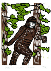 Bigfoot - 3 plate color linocut