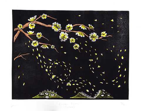 Blossom Eaters (yellow) - Cryptozoology linocut