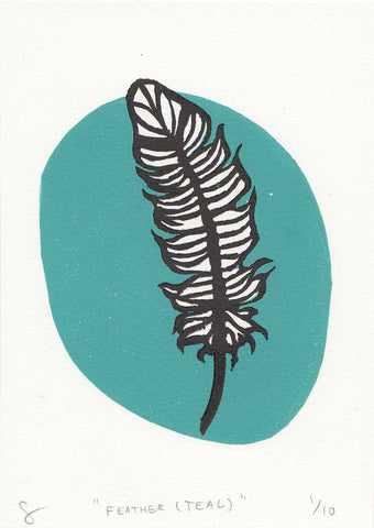 Feather Linocut