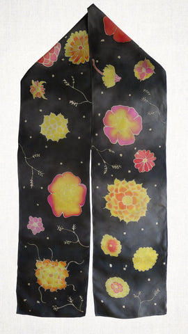 Hand Painted silk scarf - Flowers on black