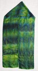 Hand Painted silk scarf - Green