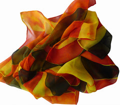 Hand Painted silk scarf - Orange Stripes