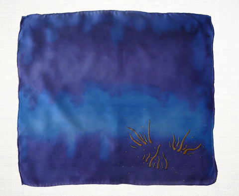 Hand Painted handkerchief - Blue and Purple