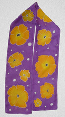 Hand painted silk scarf - Purple Poppies