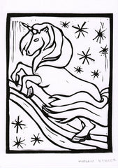 Unicorn - black and white linocut