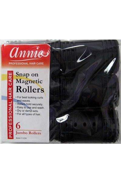"Annie Snap On Magnetic Rollers 1 1/2"" Jumbo Black #1230"