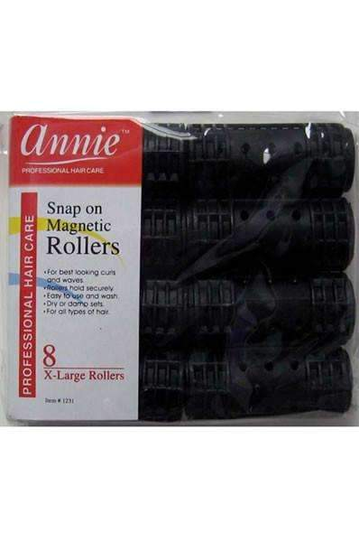 "Annie Snap On Magnetic Rollers 1 1/8"" X-Large Black #1231"