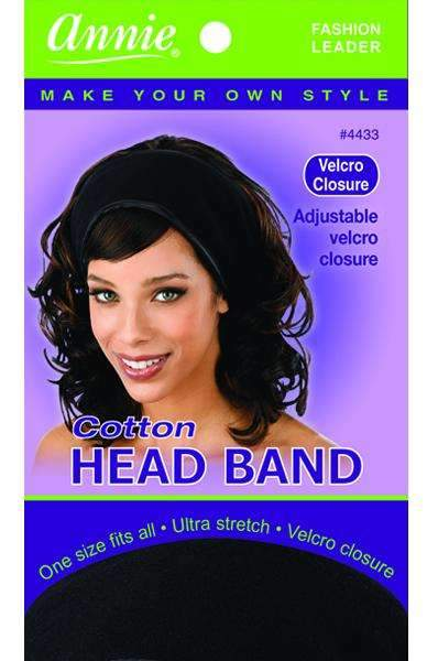 Annie Cotton Head Band Velcro Closure Black #4433