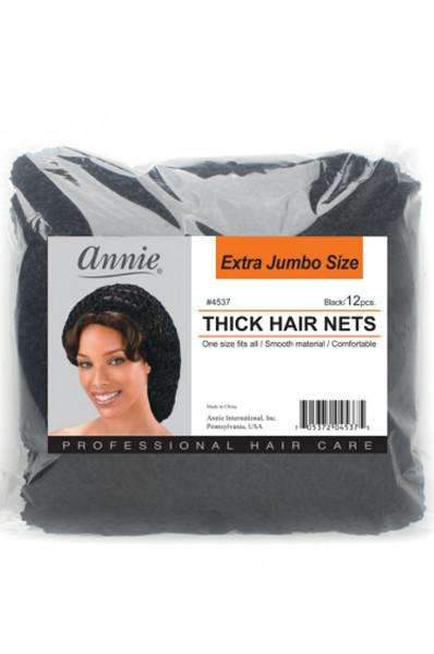 Annie Thick Black Hair Nets - Extra Jumbo #4537