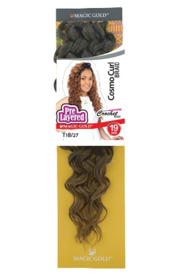 Magic Gold Pre Layered Crochet Braid Cosmo Curl Braid 19""
