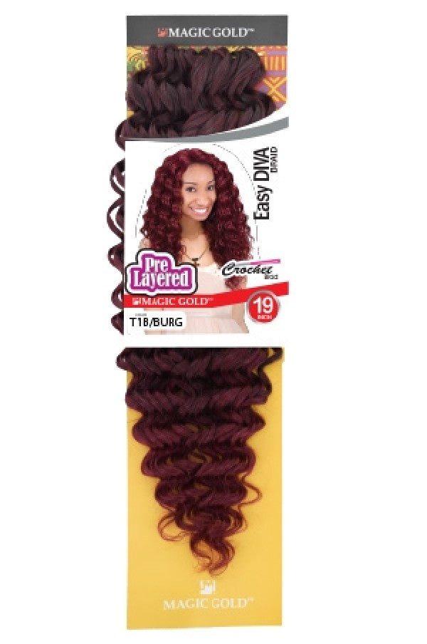 Magic Gold Pre Layered Crochet Braid Easy Diva Braid 19""