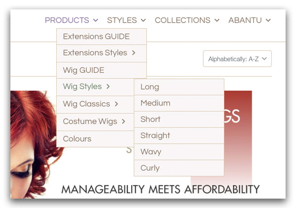 Abantu's Main Menu options for selection basic wig styles