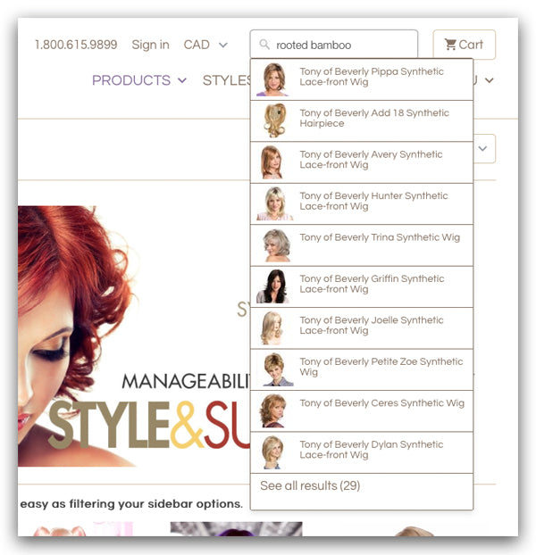 Use Abantu's SEARCH bar to find all wigs in any colour