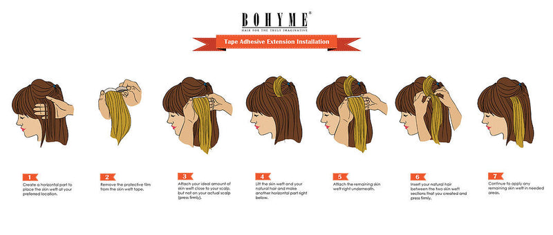 Bohyme Adhesive Skin Weft Remi Extensions Installation Guide