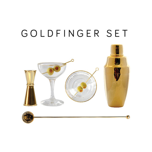 The Goldfinger Cocktail Set with Gold Cobbler Shaker Set, Gold Rim Coupe, Queen Elizabeth Swizzle Stick, Gold Circle Cocktail Garnish Pins