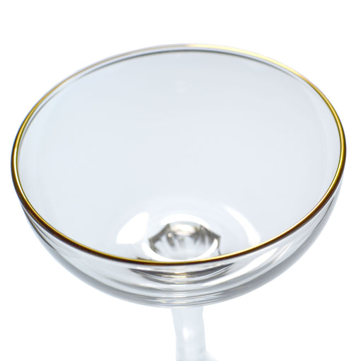 Champagne Coupe with Gold Rim (6-Pack)