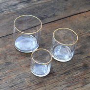 Medium Flat-Bottom Circle Glasses with Gold Rim (6-Pack)