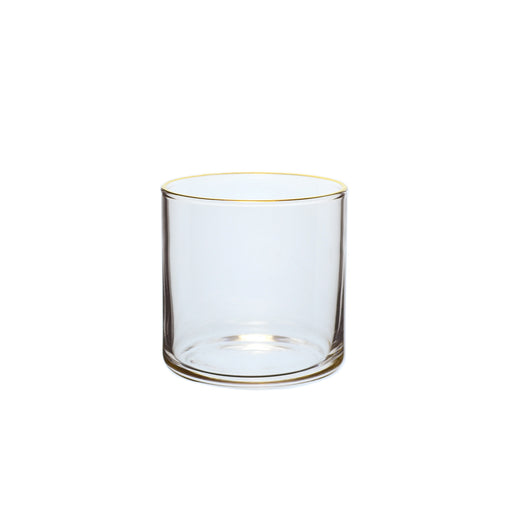 Small Flat-Bottom Circle Glass with Gold Rim (6-Pack)