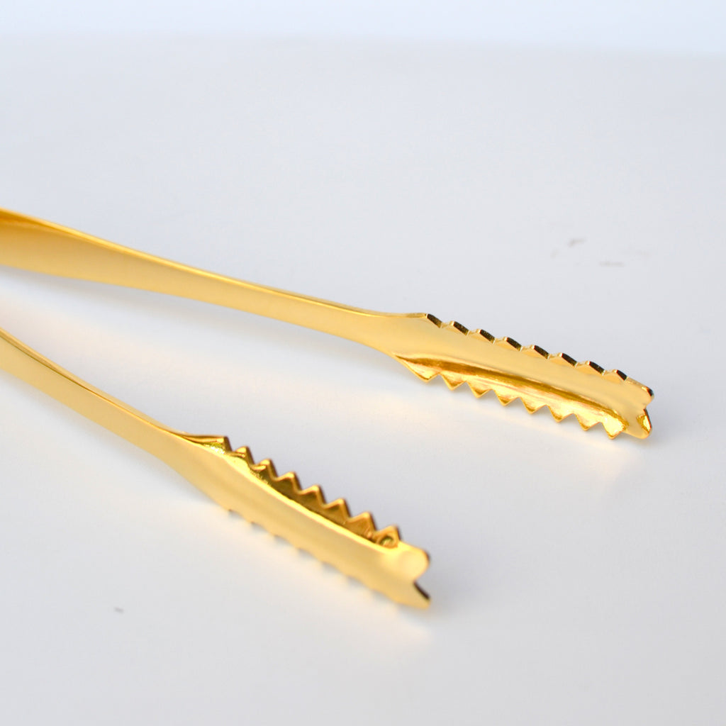Itaya Gold Plated Jagged Grip Ice Tongs Umami Mart