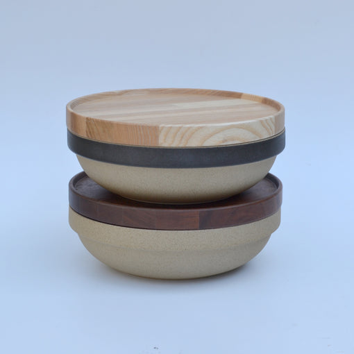 Hasami Brown and Black Round Bowl with Oak and Walnut Tray
