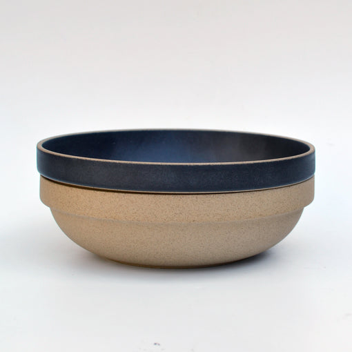 Hasami Black Round Bowl stacked with Brown Round Bowl