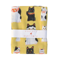 Yellow Maneki Neko Tenugui Kitchen Towel