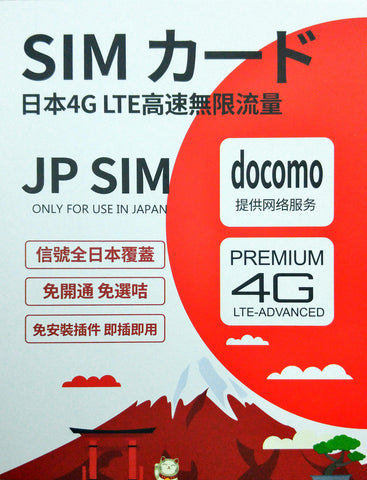 Japan Prepaid 7 days 4G LTE / 3G unlimited docomo data SIM card