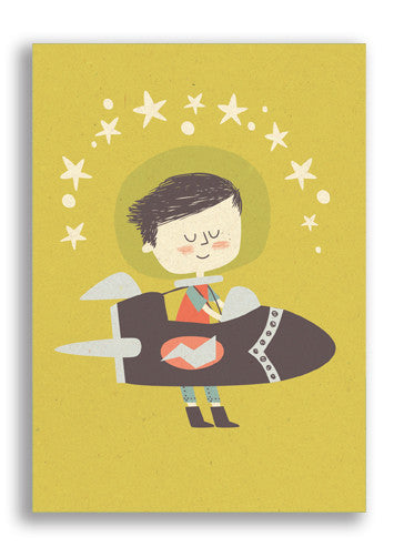 Paper and Cloth Rocket Boy Postcard Sold in 12's