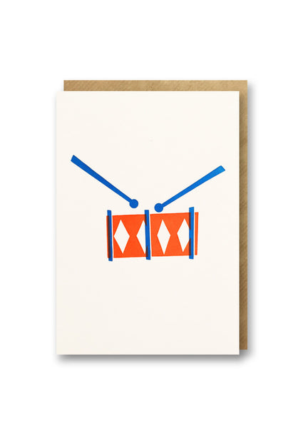 Bits and Bobs Drum Letterpressed Mini Greeting Card Sold in 6's