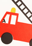 Bits and Bobs Fire Engine Letterpressed Mini Greeting Card Sold in 6's