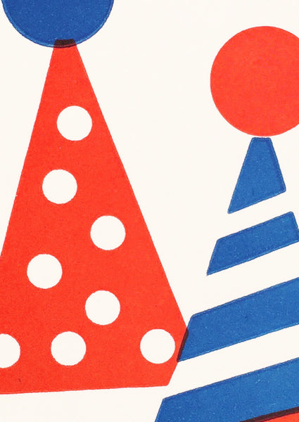 Bits and Bobs Party Hats Letterpressed Mini Greeting Card Sold in 6's