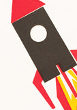 Bits and Bobs Rocket Letterpress Mini Card