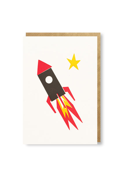 Bits and Bobs Rocket Letterpressed Mini Greeting Card Sold in 6's