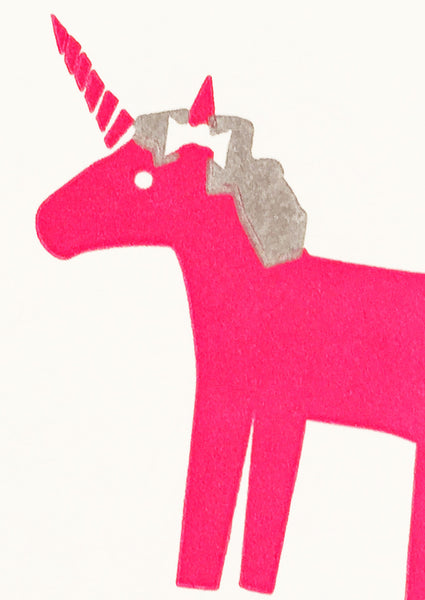 Bits and Bobs Unicorn Letterpress Mini Card