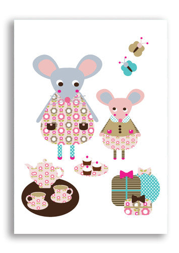 Margot And Mo The Mice Postcard