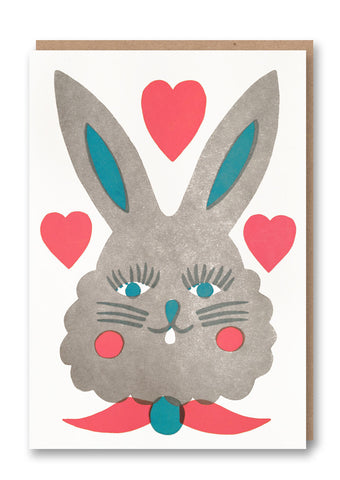 Sukie Rabbit Letterpressed Greetings Card Sold in 6's