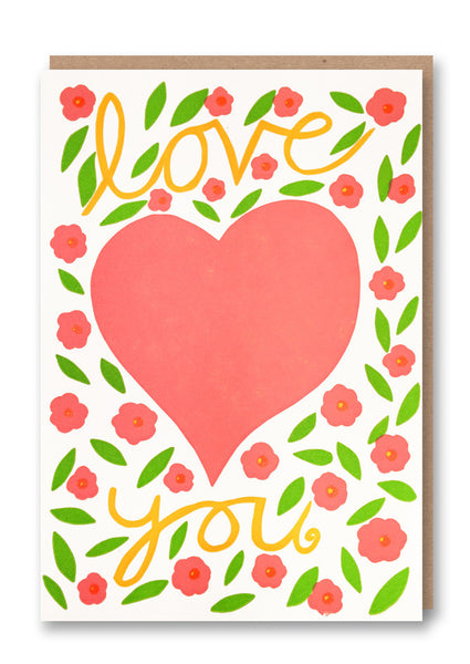 Sukie Love You Letterpressed Greetings Card Sold in 6's
