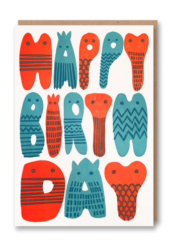 Sukie Happy Birthday Letters Letterpressed Greetings Card Sold in 6's