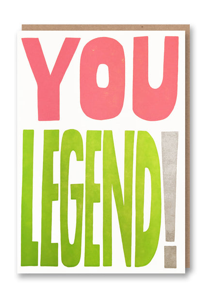 Sukie You Legend Letterpressed Greetings Card Sold in 6's