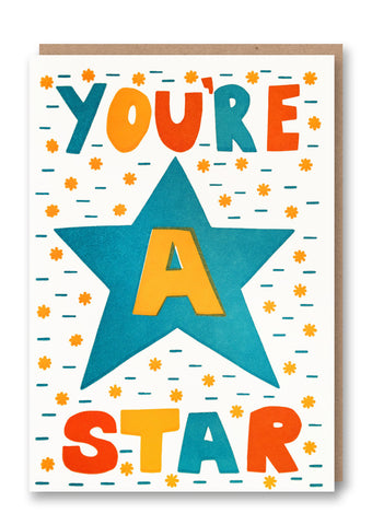 Sukie You're a Star Letterpressed Greetings Card Sold in 6's