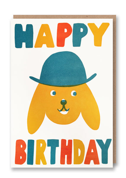 Sukie Happy Birthday Dog with Hat Letterpressed Greetings Card Sold in 6's